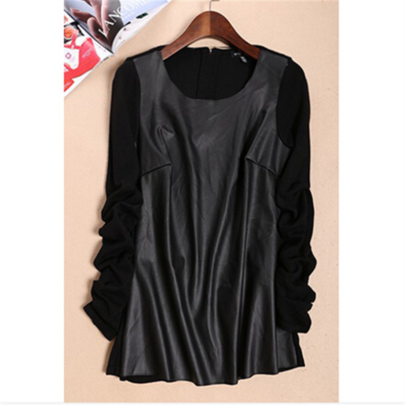 WBCTW Faux Leather Patchwork Womens Solid Black Color Oversize Sweaters Fashion 2018 Autumn Women Pullover And Christmas Sweater