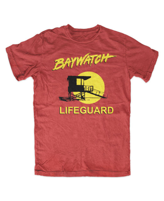 Baywatch T-Shirt Rot Lifeguard David Hasselhoff,Kult  New Fashion Men'S Short Sleeve  Men O-Neck Tee Shirt