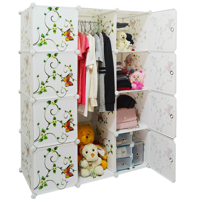 Simple wardrobe child wardrobe folding diy combination storage cabinet baby steelframe hanging clothes cabinet  sc 1 st  AliExpress.com & Simple wardrobe child wardrobe folding diy combination storage ...