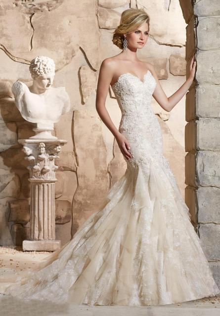 2018 Strapless Lace Mermaid Ivory And Champagne Wedding Dress-in ...