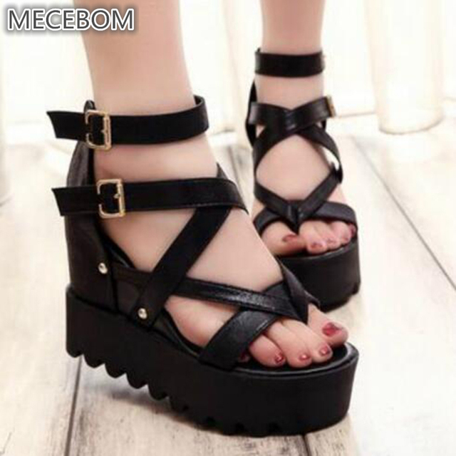 3a9ae3bb989 Fashion Sandals Summer Wedges Women s Sandals Platform Lace Belt Bow Flip  Flops open toe high-heeled Women shoes Female 9909W