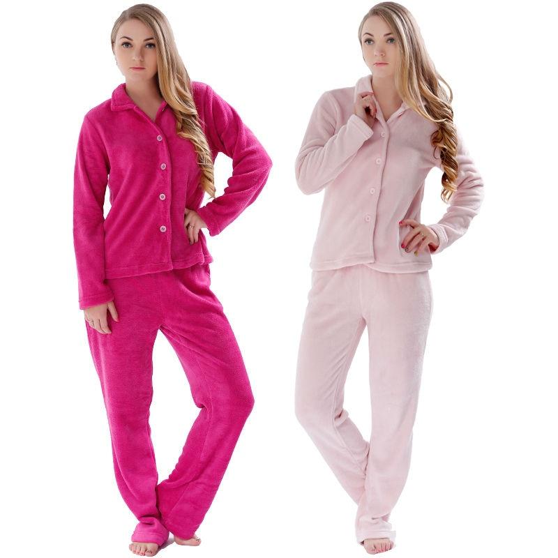 Mulheres Pijamas Inverno Quente Pijamas Pijamas Ternos Plus Size Roupas Para Casa Coral Velo Top & Pant Pijamas Conjunto Pijama Para As Mulheres