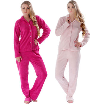 Women 2015 Winter Warm Plus Size Coral Fleece Pink Red Pyjama Sleepwear Suit Homewear Pajama Set For Ladies pajamas