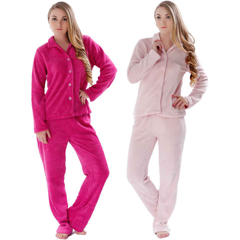 Women Pyjamas Winter Warm Sleepwear Pajamas Suits Plus Size Home Clothes  Coral Fleece Top   Pant 588700eeb