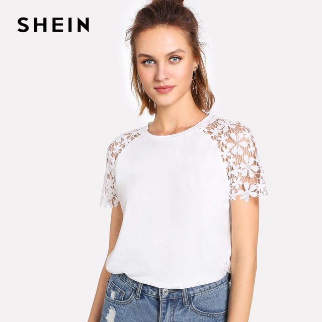 T Raglan Dentelle Femmes Floral shirt À SHEIN Occasionnel Manches 7wxI4CzqEq