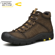 Camel Active Winter New Genuine Leather Men Shoes Short Plush Super Warm Ankle Boots Lace-Up Rubber Cow Leather Snow Boot