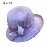 QPALCR Fashion Elegant Sun Hats For Women Ladies Mesh Bow Straw Hat Female Chapeau Church Hats Summer UV Protection Visor Cap