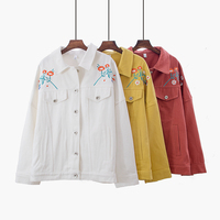 Fashion Floral Embroidery Autumn Jacket Women Single Breasted Pockets Ladies Casual Jacket Coat Veste Femme Abrigo Mujer Clothes