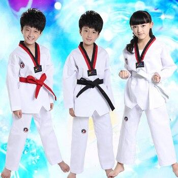 10pcs/lot Long Sleeves White Taekwondo Clothes for Kids Boys Girls Karate  Kimono Judo Suits Children