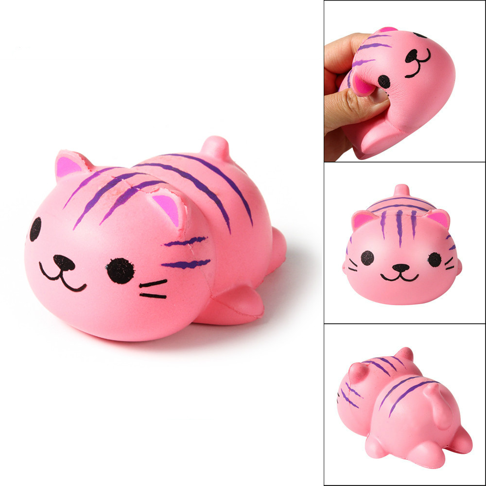 Mskwee 10CM Jumbo Cute Cartoon Pink Cat Squishy Slow Rising Lying Animal Phone DIY Decor Fun Soft Squeeze Toy Gift For Children