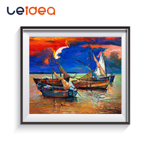 Paint By Number Sailing Boat On The Lake Canvas DIY Digital Oil Painting Numbers Home Decoration Craft Coloring Art