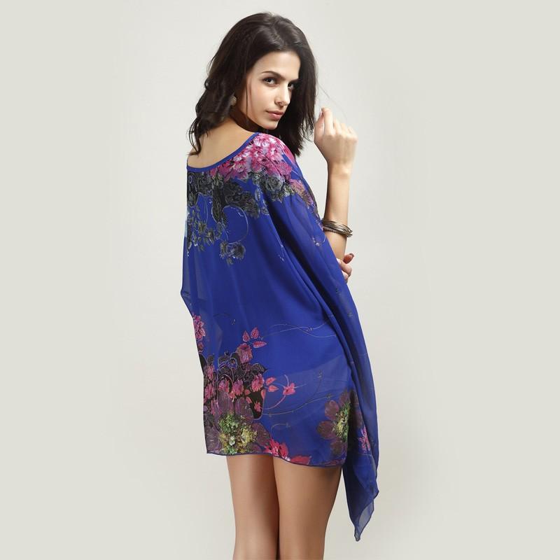 HTB16wJOLXXXXXcWXVXXq6xXFXXX2 - Boho Batwing Sleeve Chiffon Blouse Women Casual Floral Kimono Shirts