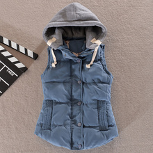 Detachable Hooded Cotton Vest Women Thickening Cotton Wadded Waistcoat Woman Vest Waistcoat Plus Size L – 6XL Free Shipping