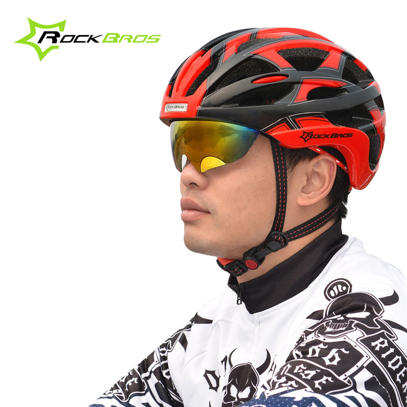 ROCKBROS Bicycle Helmet With 3 Lens Outdoor Sports Bike Riding Head Protect Wear Cycling Helmet Integrally-molded Light Helmet outdoor sports cycling mask bike riding variety turban magic bicycle designal scarf women scarves