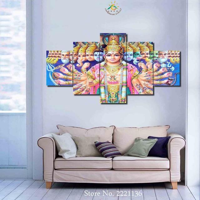 3 4 5 Pieces Lord Vishnu Canvas Printed Painting Home Wall Decor Prints