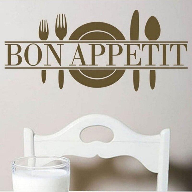 Домашний Декор Bon appetit Еда Наклейки на стену Кухня украшения комнаты Товары для коше ...