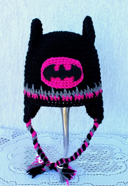 Free Shipping Lovely Crochet Baby Batman Hat Cartoon Halloween