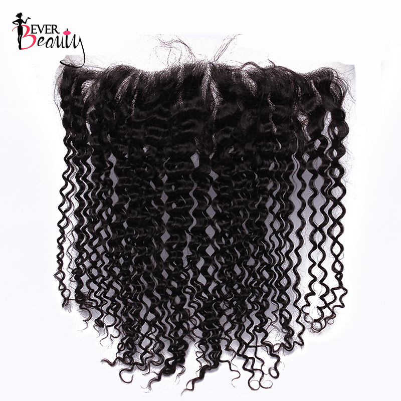 Silk Base Frontal Kinky Curly 13x4 Lace Frontal Brazilian Remy Hair Pre Plucked Natural Hairline With Baby Hair Ever Beauty