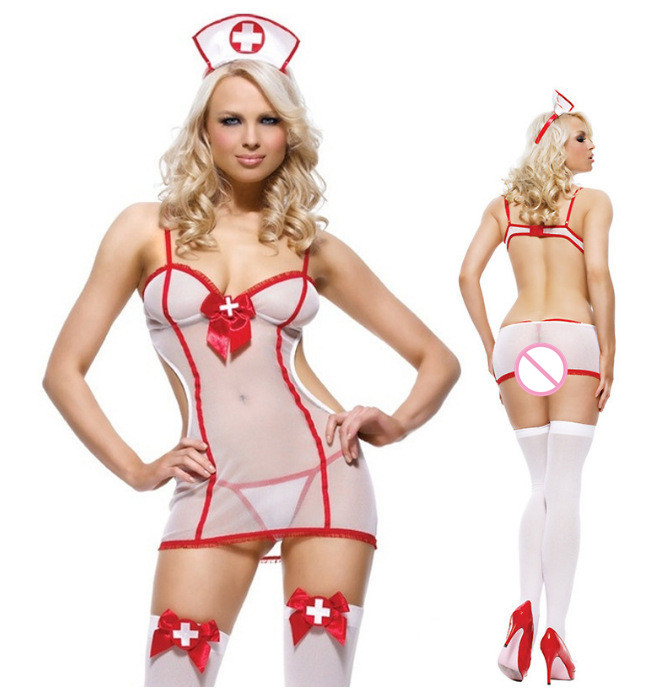 Hot Sexy Lingerie Porn Women Halloween Role Play Babydoll Underwear Chemises Erotic Sexy Uniform Nurse Cosplay Sexy Costumes