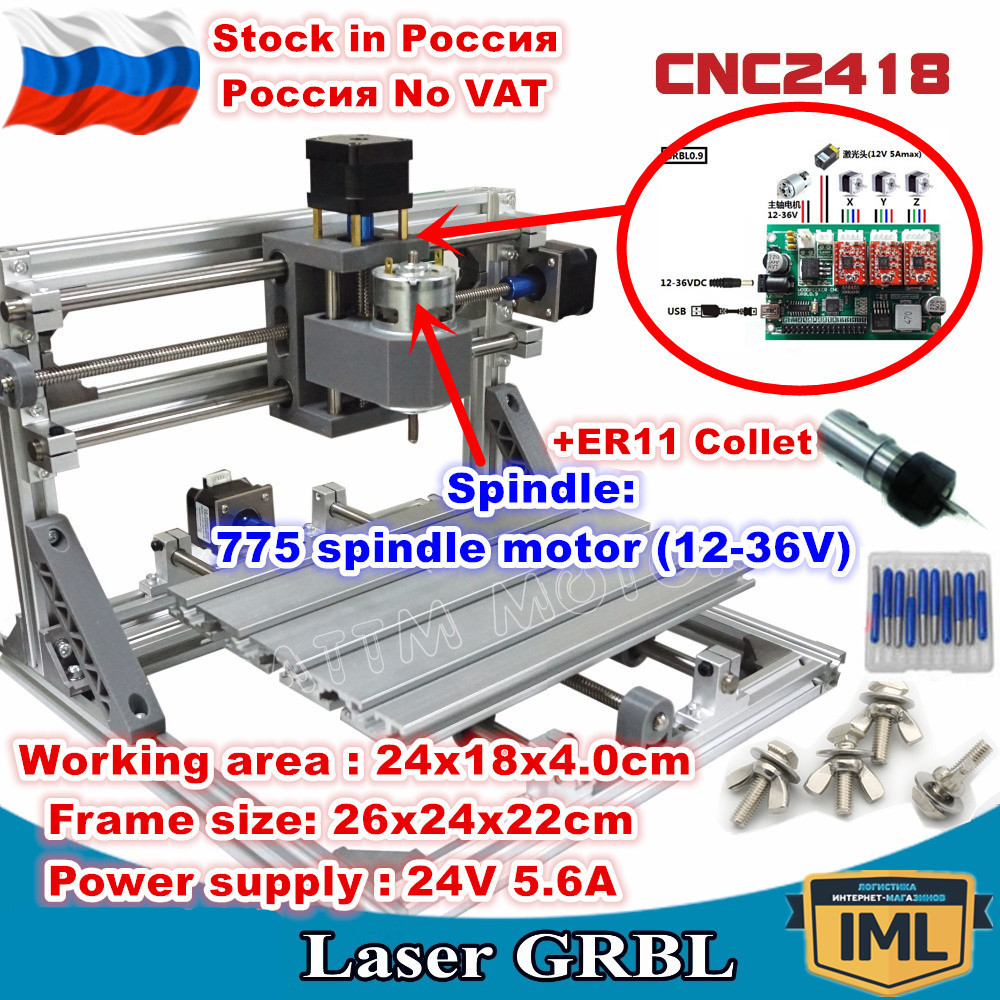 [Russia/EU Delivery] 3 Axis 2418 +ER11 Collet GRBL CNC Machine Control DIY Pcb Pvc Laser Milling Machine Carving Engraver