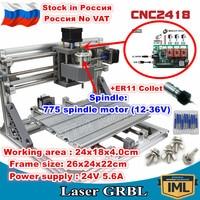 [Rússia/ue entrega] 3 eixos 2418 + er11 pinça grbl cnc controle de máquina diy pcb pvc máquina de trituração a laser escultura gravador|Roteadores de madeira| |  -