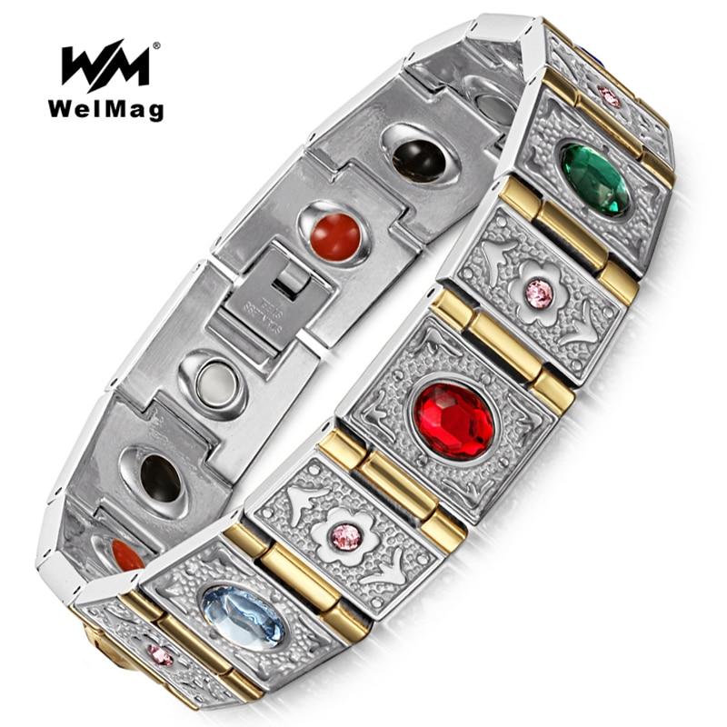 WelMag Fashion Germanium Armband & Armband Rostfritt stål Män Kvinnor Magnetarmband Magnetoterapi Negativa jonsmycken