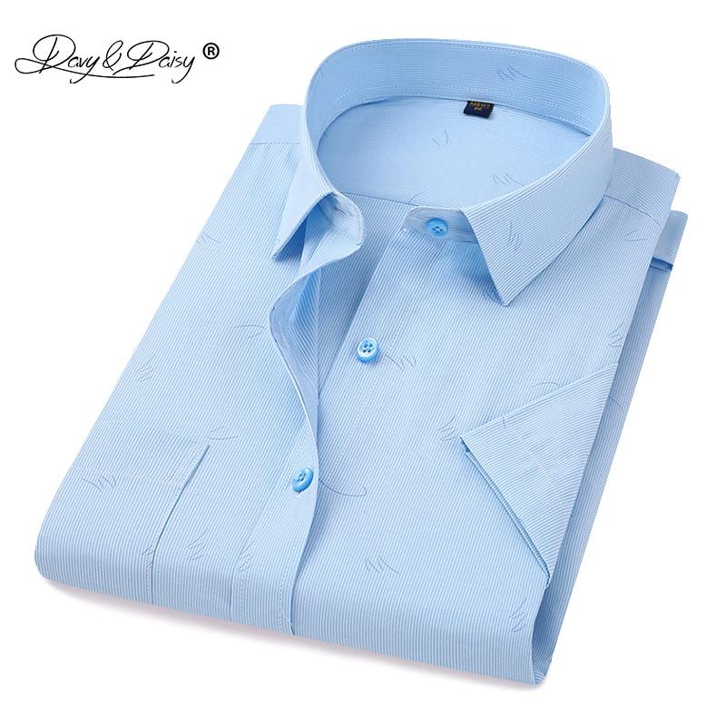 DAVYDAISY 2019 New Arrival Summer Men's Shirt Short Sleeved Striped Fashion Work Casual Shirt Man Dress Shirt Soft Brand DS306