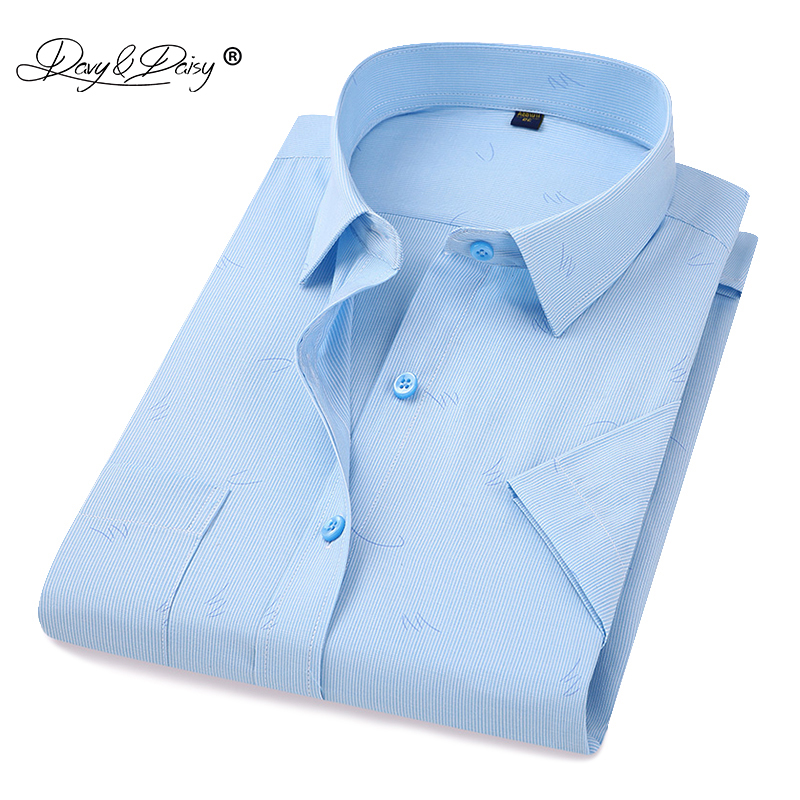 DAVYDAISY 2019 New Arrival Summer <font><b>Men's</b></font> <font><b>Shirt</b></font> <font><b>Short</b></font> <font><b>Sleeved</b></font> <font><b>Striped</b></font> Fashion Work Casual <font><b>Shirt</b></font> Man Dress <font><b>Shirt</b></font> Soft Brand DS306 image