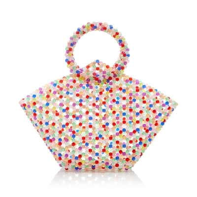 Luxury Design Beaded Bag Handmade Woven Women Bag Causal Cute Small Tote Bag Retro Lady transparent Handbag Pet Package Pearl цена 2017