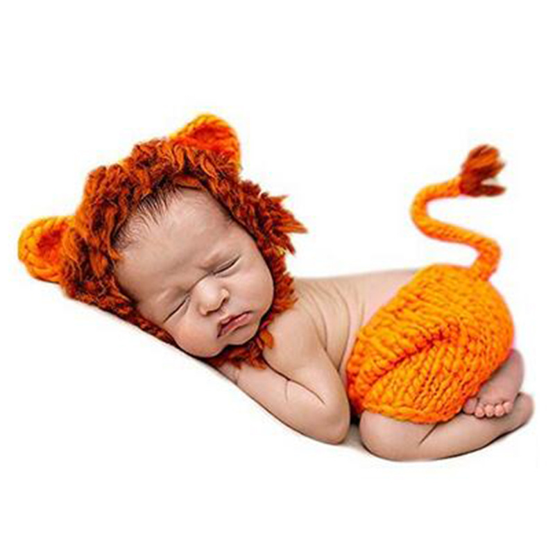 glittery sweet Brand Baby Hat Handmade Knitted Newborn Photography Props Cute Lion Kids Girl Baby Cap Pants Set Accessories