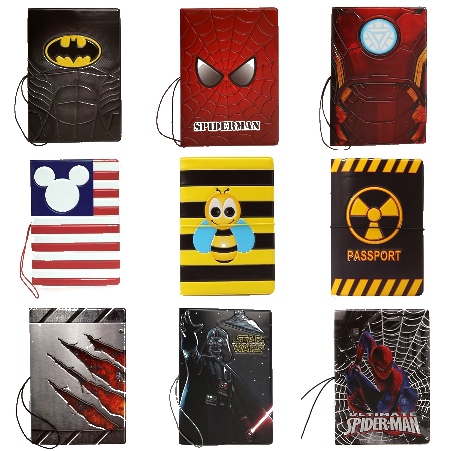 19 Styles Fashion  3D Cartoon Minions Star Wars Passport Cover Holder High Quality PVC Couverture Passeport Card Bag 14*9.6cm