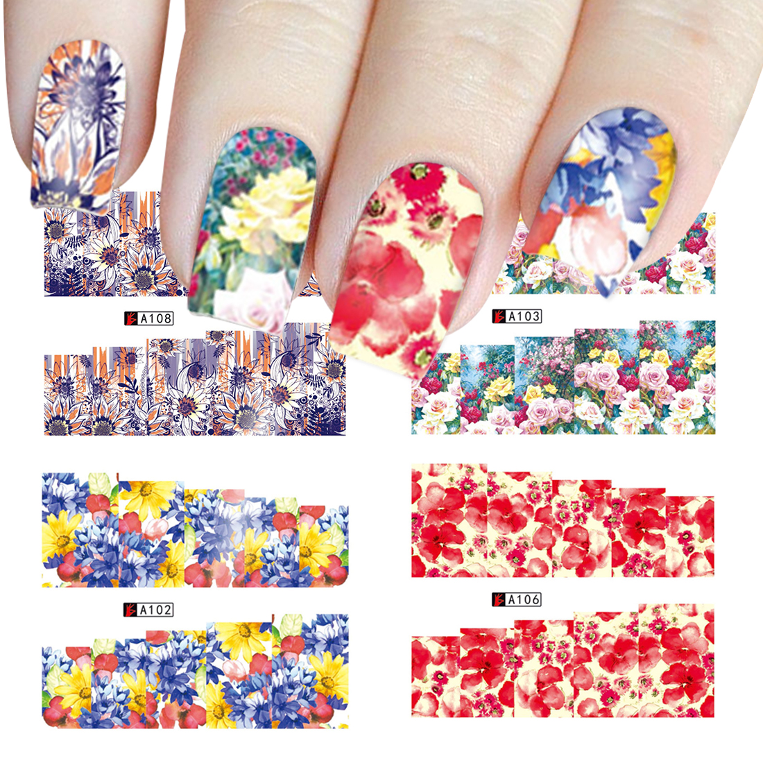 Full Nail Water Decals Sticker Floral Fairy Nail Stickers Flowers ...