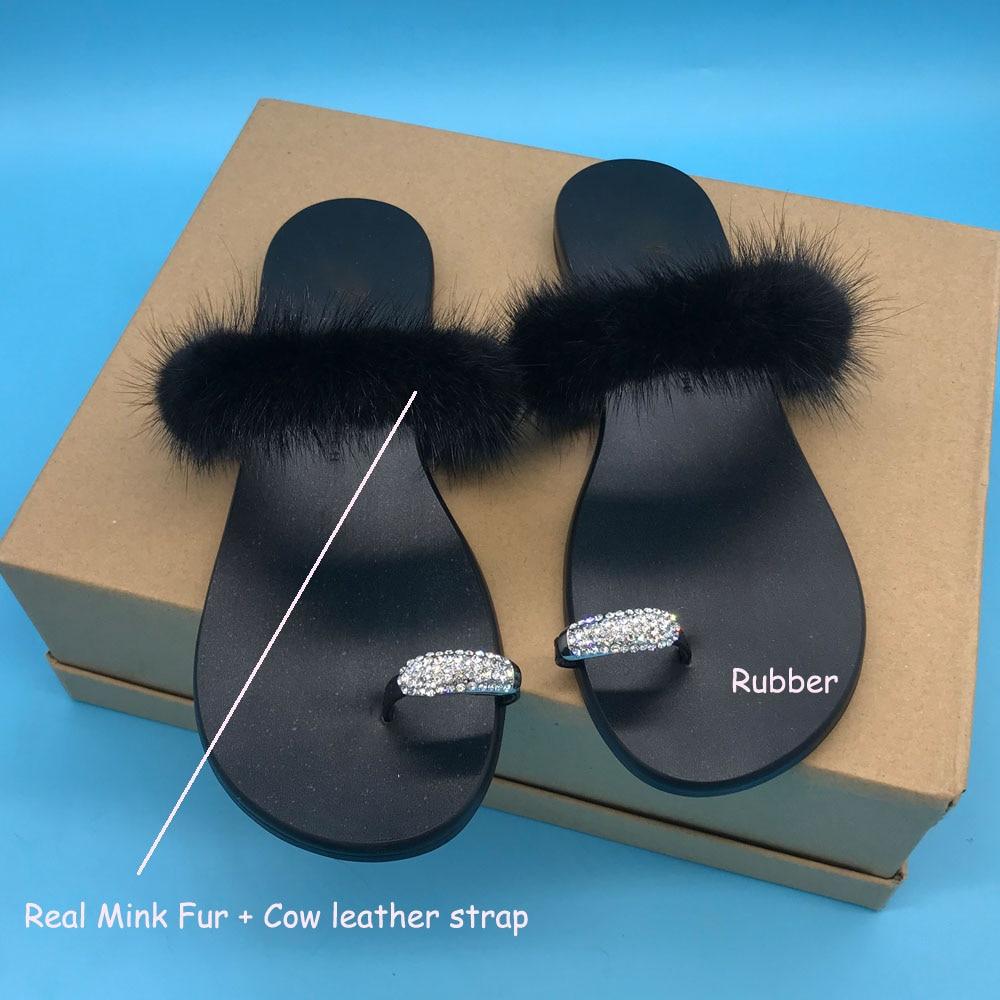 Women Crystal Buckle Slides Shoes Real Mink Fur Cow Leather Strap Flip Flops