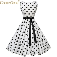 Chamsgend Drop Ship Hot Women Vintage Elegant Polka Dot Sleeveless Party Dress Vesitdo with Ribbon Belt 71024