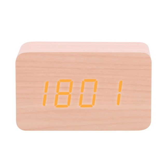 Electronic Digital Clock Mini Voice Control Wooden Clock LED Alarm Clock Multifunctional Time Date Temperature Display Clock