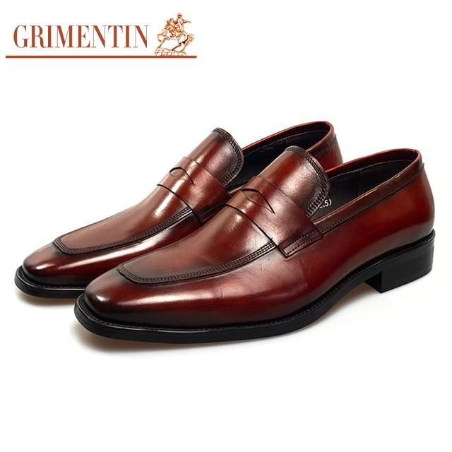 a57f464439e923 GRIMENTIN luxe italien hommes chaussures d'affaires designer haute qualité  en cuir marron chaussures habillées
