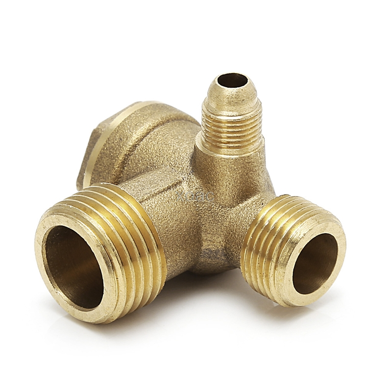 Außengewinde 3 Weg Metall Luft Kompressor Überprüfen Ventil Gold-ton M07 Dropship Um Jeden Preis