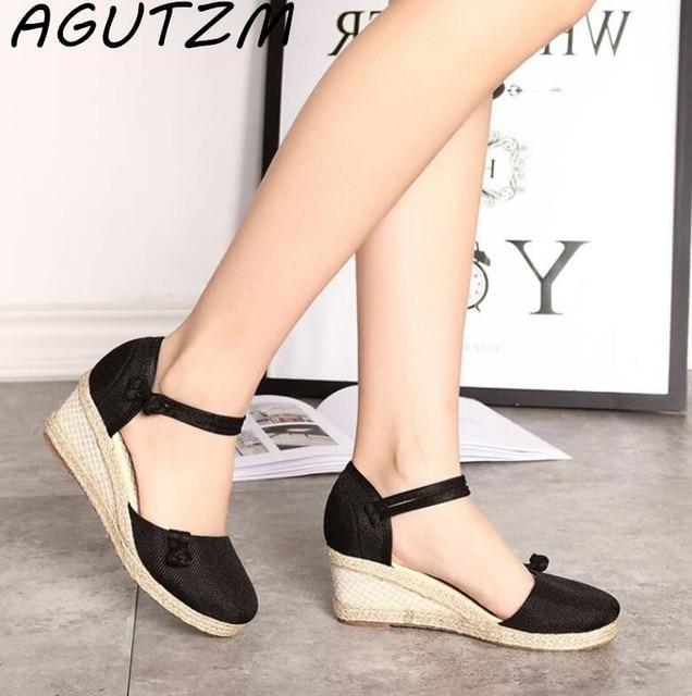 104a3c2689a AGUTZM Summer Ankle Strap Med Heel Platform Shoes Vintage Embroidered Women  Sandals Casual Linen Canvas Wedge