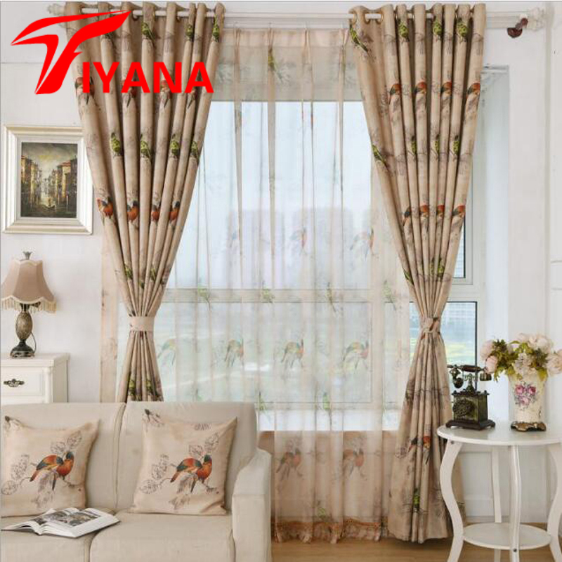 Rustic Coffee Color Fashion Bird Design Sheer Curtains For