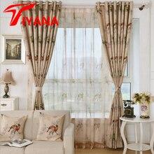 Pájaro de la moda de diseño de color café rústico cortinas transparentes para tratamientos de la ventana del dormitorio sala de estar cortina de la cocina wp335 #30