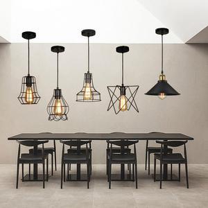 Image 2 - מודרני תליון אור שחור ברזל תליית כלוב בציר Led מנורת E27 תעשייתי לופט רטרו אוכל חדר מסעדה בר דלפק
