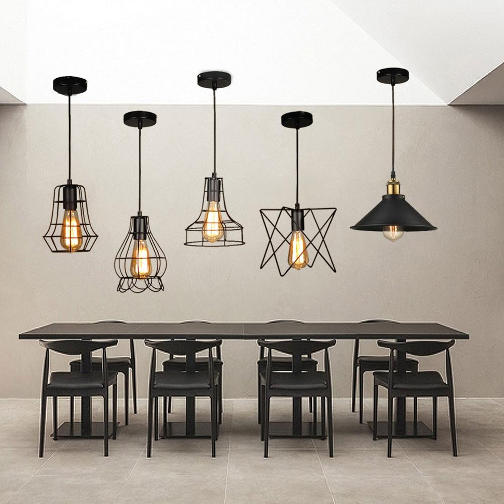 Image 2 - Modern Pendant Light Black Iron Hanging Cage Vintage Led Lamp E27 Industrial Loft Retro Dining Room Restaurant Bar CounterPendant Lights   -