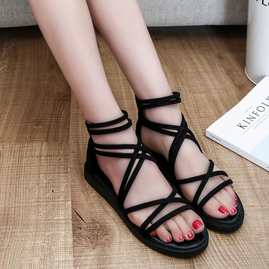 women Sandals Women Flat Shoes Bandage Bohemia Leisure Lady Casual Sandals Peep-Toe Outdoor Chaussures Femme 2018 hot sale 13