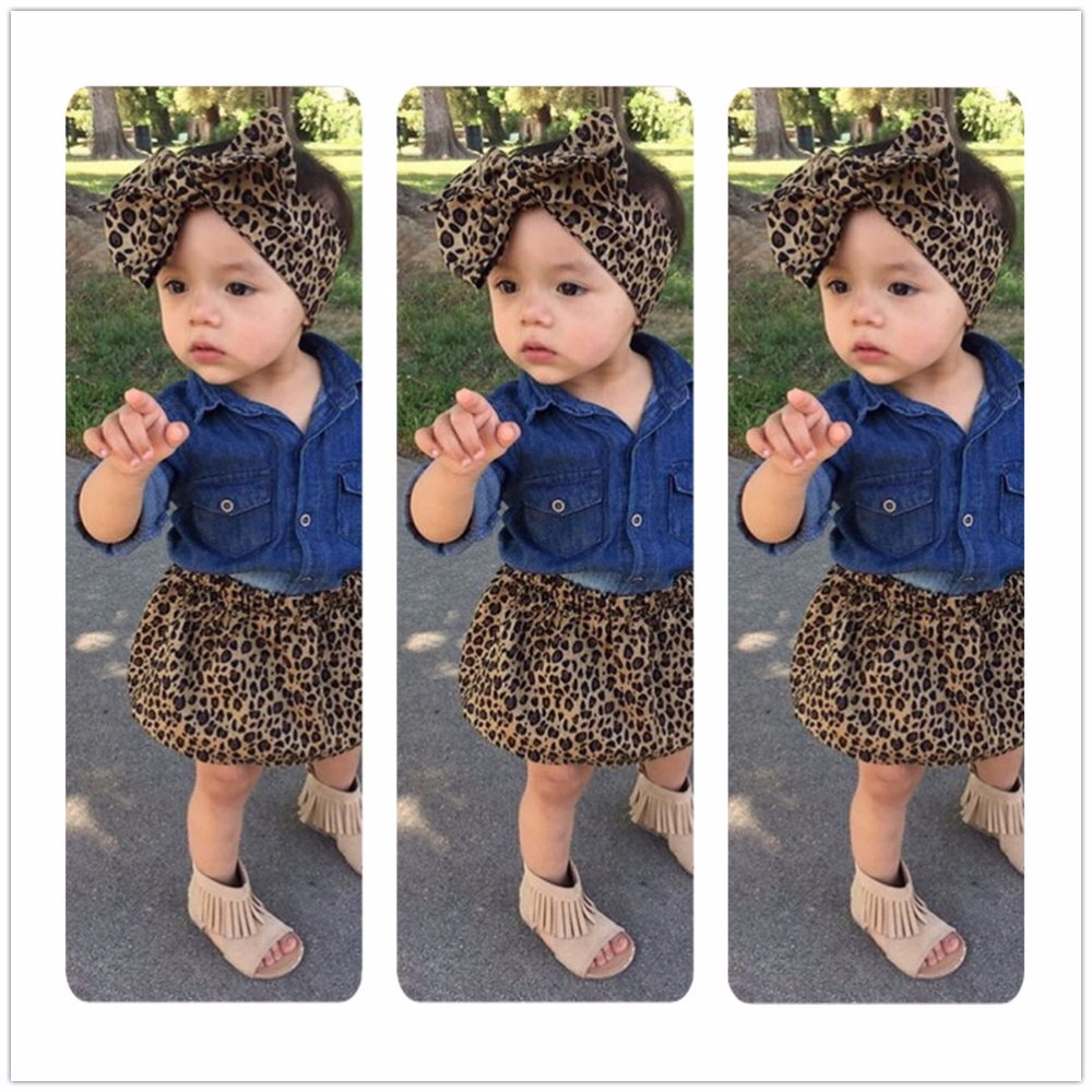 Mikrdoo 3PCS Summer Baby Girls Clothes Set Kids  Long Sleeve Denim Tops+Leopard Culotte Skirt Outfits Children Clothing Suit 2017 new fashion kids clothes off shoulder camo crop tops hole jean denim pant 2pcs outfit summer suit children clothing set