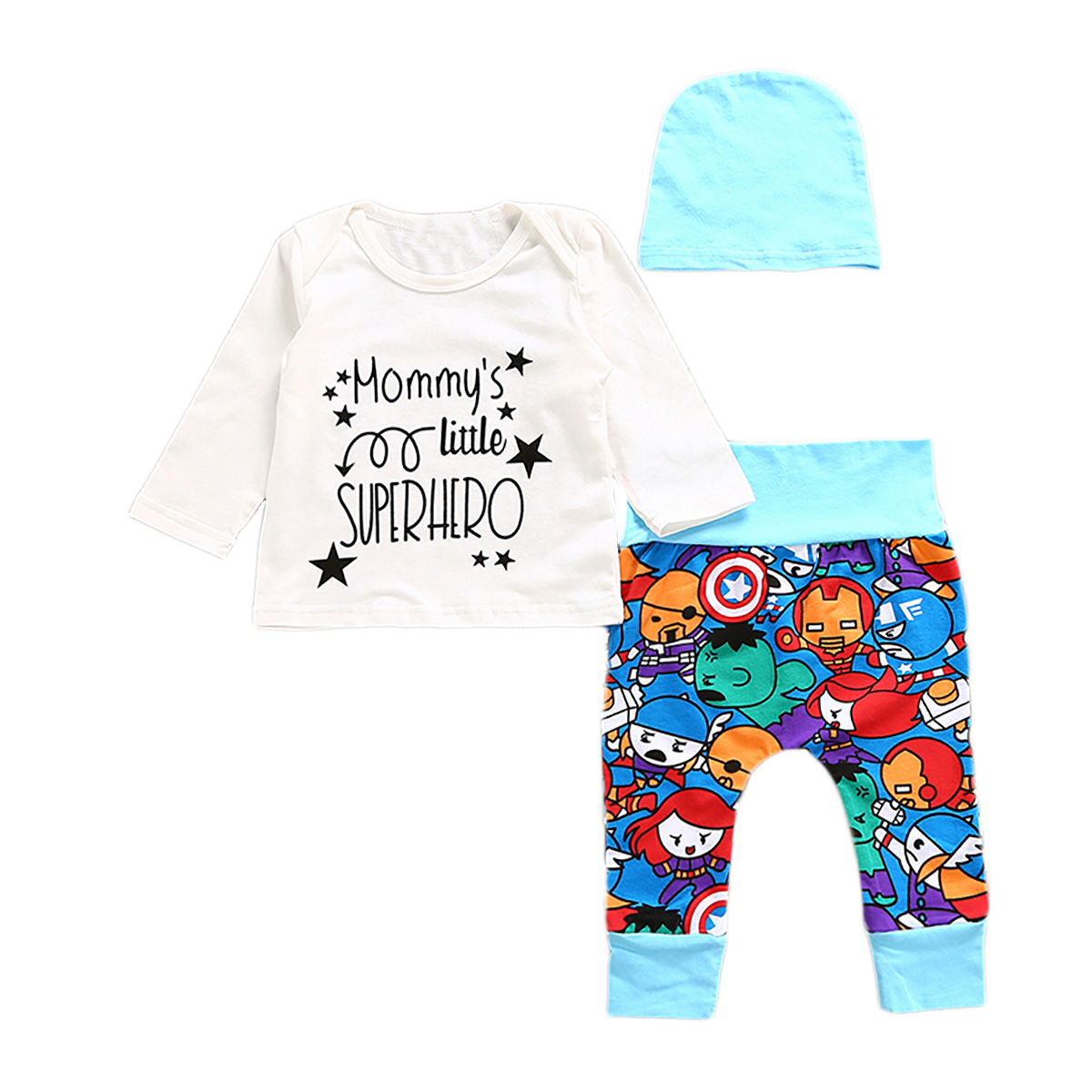 Cute Cotton Newborn Baby Boy Superhero Letter Printed Long Sleeve T-shirt Cartoon Pants Leggings Outfit Autumn Clothes Set 0-2Y 2pcs set baby clothes set boy
