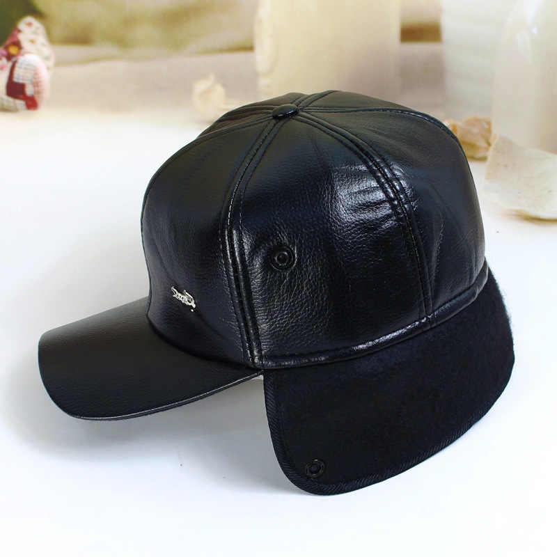fbbc672127e ... Fibonacci High quality men s winter hat warm ear protection plus velvet  thick middle aged elderly leather ...