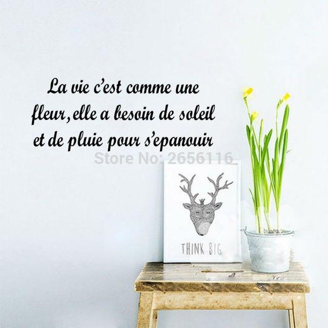 Franzosisch Zitate La Vie Est Comme Une Fleur Wandtattoo Fur Wohnzimmer Wandaufkleber Vinyl Kunst Schriftzug Geschnitzt