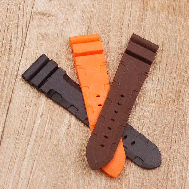Watch accessories sweat-absorbent silicone strap for Panerai 1950 series PAM00616 00682 waterproof rubber 24mm men's watch belt 2