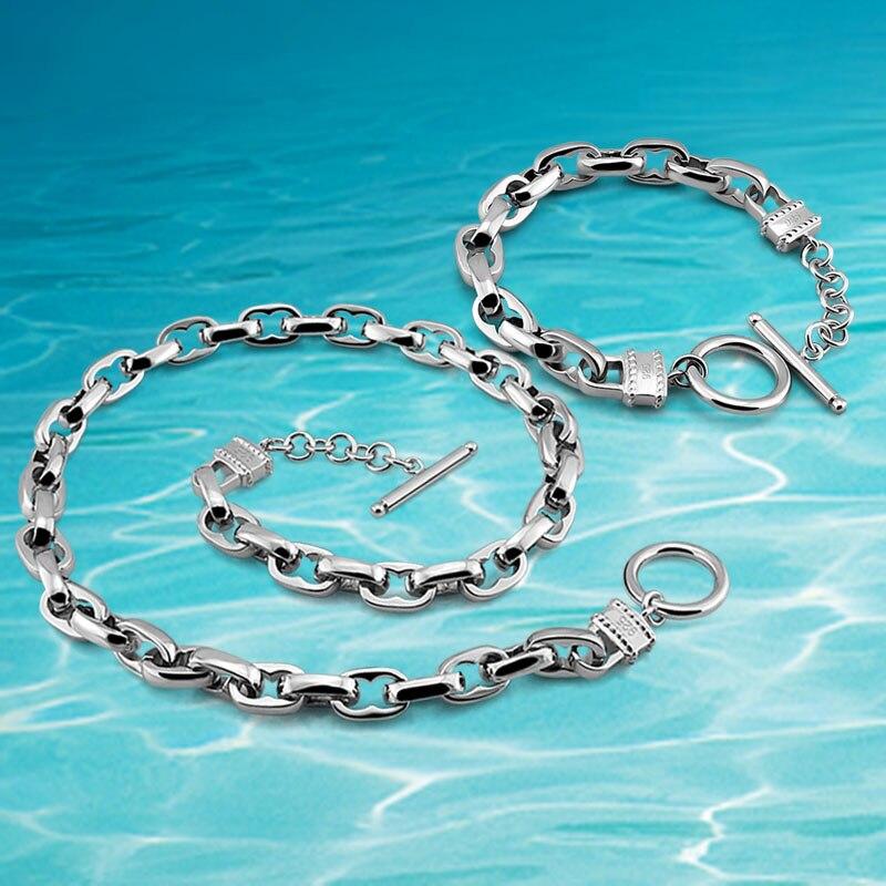 Breite Auflage Dick Armband Halskette FleißIg 925 Sterling Silber Halskette Armband Herren Halskette Set Mode Schmuck.