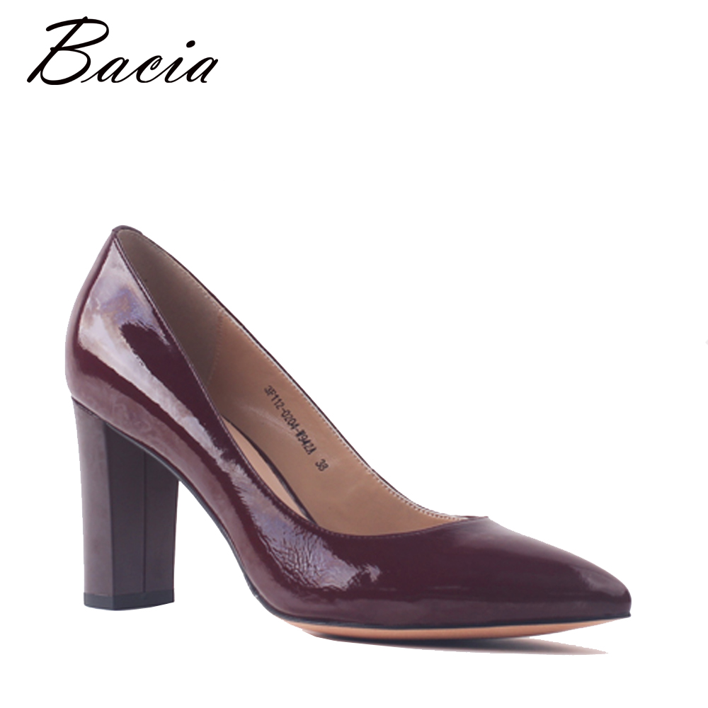Bacia Genuine Leather Shoes For Women High Heel Pointed Toe Thick Heel Pumps Dress Party Office Ladies Brand Shoes Size 40 SA091 new women s high heels pumps sexy bride party thick heel round toe genuine leather high heel shoes for office lady women t8802